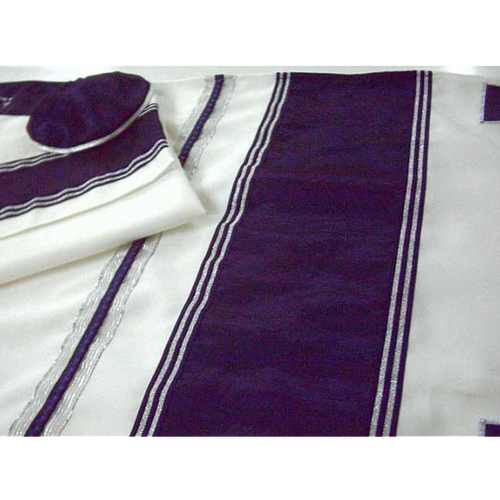Navy Blue Wool Tallit With Silver