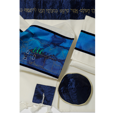 Load image into Gallery viewer, Jerusalem in Gold Tallit, Wool Tallit, Blue Silk Bar Mitzvah Tallit Set, Wedding Tallit, Hebrew Prayer Shawl