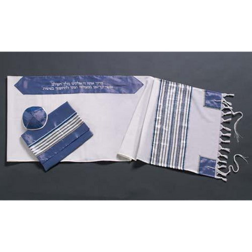 Slate Blue Wool Tallit For Men Handmade In Israel