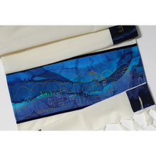 Load image into Gallery viewer, GOLD EMBROIDERED ON BLUE SILK