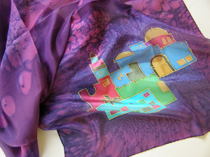 Hand Painted Holiness Jerusalem Silk scarf in Purple Shades