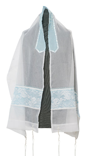 FLORAL LIGHT BLUE TALLIT, girls tallit, bat mitzvah tallit, blue tallit, womens tallit by Galilee Silks