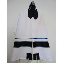 Load image into Gallery viewer, Blue and Silver Bar Mitzvah Tallit, vegan tallit, bar mitzvah tallit set, modern tallit, custom tallit by Galilee Silks, tallit for men
