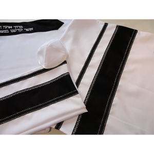 Black  and Silver Tallit, Bar Mitzvah Tallit