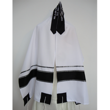 Load image into Gallery viewer, Black and Silver Tallit prayer shawl, Bar Mitzvah Tallit