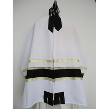 Load image into Gallery viewer, Black and Gold Bar Mitzvah Tallit, Aliyah Tallit for men, custom tallit , modern tallit, bar mitzvah tallit by Galilee silks