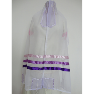 Tallit for women with Purple, Pink and Blue Stripes