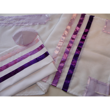 Load image into Gallery viewer, Tallit for women with Purple, Pink and Blue Stripes