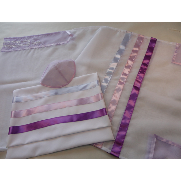 Tallit with Lilac and Pink Stripes by Galilee Silks, girls tallit, bat mitzvah tallit