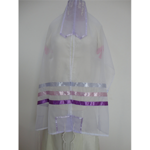 Glow - Tallit with Lilac and Pink Stripes, bat mitzvah tallit, girls tallit