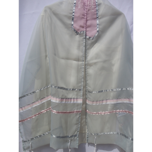 Pink on Gray Talilt for girl, Tallit for women