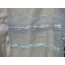 Load image into Gallery viewer, Light blue and purple  ON GREY TALLIT
