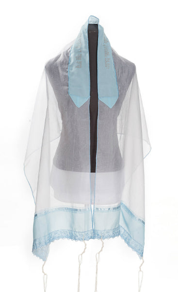 Lace light blue Tallit for Girl, tallit for women