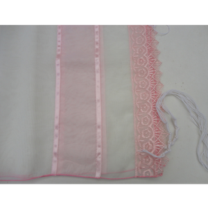 Lace Pink Tallit for Girl - Bat Mitzvah Tallit pattern, Girls tallit, womens tallit by Galilee Silks