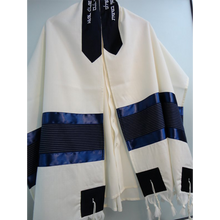 Load image into Gallery viewer, Blue Tallit - Bar Mitzvah Tallit, Wool Tallit Set, custom tallit from Israel, modern tallit for men