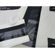 Load image into Gallery viewer, Black and Silver Tallit for boy Jewish prayer shawl