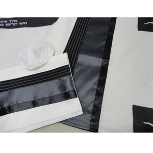 Black and Silver Tallit for boy Jewish prayer shawl