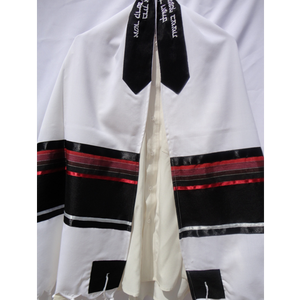 modern white black and red bar mitzvah tallit, wool tallit by galilee silks