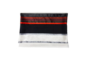 modern white black and red bar mitzvah tallit, wool tallit bag by galilee silks