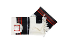 Load image into Gallery viewer, Black and red wool tallit, bar mitzvah tallit set