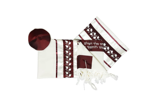 Red Pomegranates Bar Mitzvah Tallit Set, Hebrew Prayer Shawl, Wool Tallit, Jewish Prayer Shawl