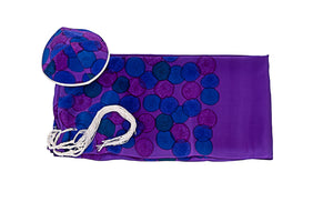 Floral Purple and Blue Silk Tallit, Bat Mitzvah Tallit, girls tallit, womens tallit Set flat by Galilee Silks