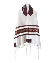 Load image into Gallery viewer, Unique Dark Red Pomegranate Wool Tallit, Bar Mitzvah Tallit Set, Jewish Prayer Shawl