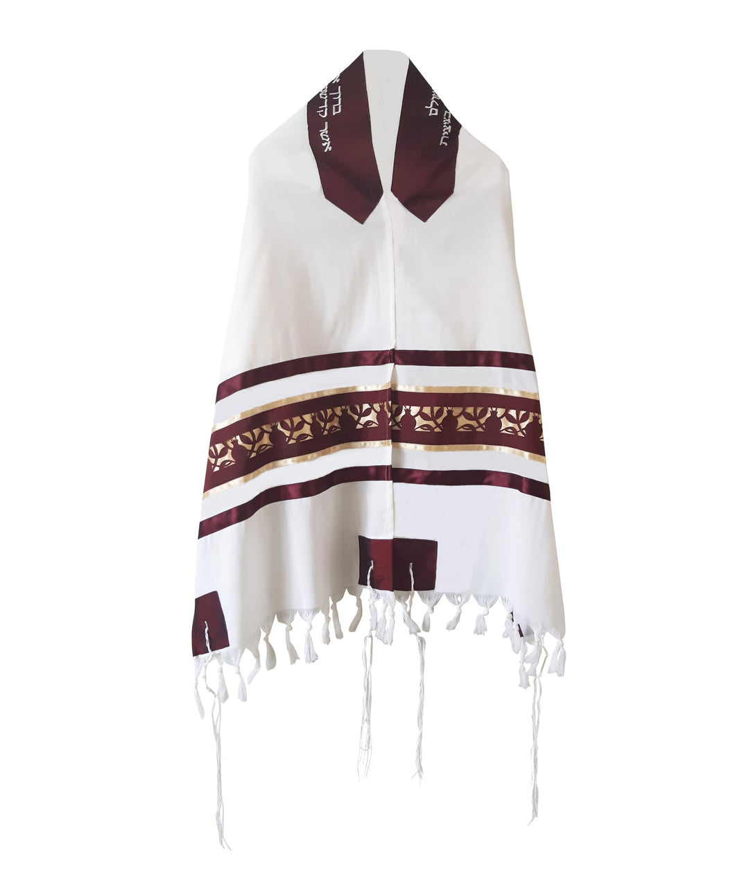 Unique Dark Red Pomegranate Wool Tallit, Bar Mitzvah Tallit Set, Jewish Prayer Shawl