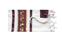 Load image into Gallery viewer, Unique Dark Red Pomegranate Wool Tallit, Bar Mitzvah Tallit Set, Jewish Prayer Shawl flat