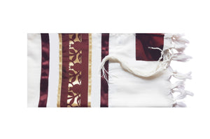 Unique Dark Red Pomegranate Wool Tallit, Bar Mitzvah Tallit Set, Jewish Prayer Shawl flat