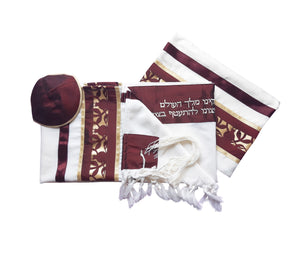 Unique Dark Red Pomegranate Wool Tallit, Bar Mitzvah Tallit Set, Jewish Prayer Shawl set
