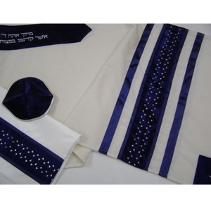 A Modern Blue Star Of David Wool Tallit