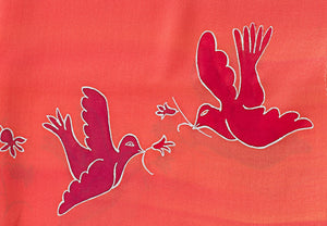 Pink & Peach Woman's Tallit with Drawing of Doves - Galilee Silks