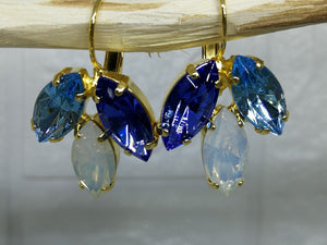 Blue and White 3 Drop Marquise Earrings