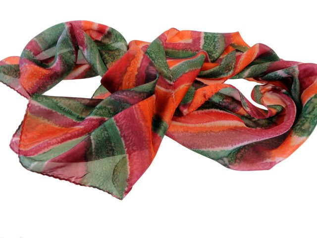 Fashionable Green, Orange and Bordeaux Hand Painted Silk Scarf with Abstract Diamond and Stripes Design