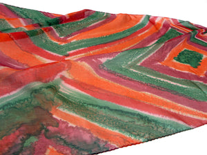Fashionable Green, Orange and Bordeaux Hand Painted Silk Scarf with Abstract Diamond and Stripes Design flat