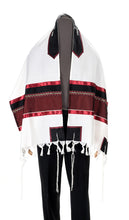 Load image into Gallery viewer, Wool Tallit, Dark Red Wine Tallit from Israel, Custom tallit Shop, Jewish Prayer Shawl