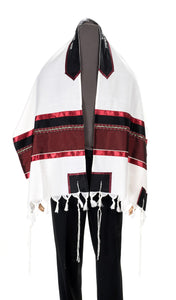 Wool Tallit, Dark Red Wine Tallit from Israel, Custom tallit Shop, Jewish Prayer Shawl
