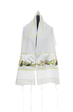 Load image into Gallery viewer, White Calla Lilly Tallit for Women, bat mitzvah tallit by galilee silks