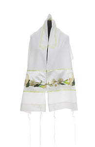 White Calla Lilly Tallit for Women, bat mitzvah tallit by galilee silks