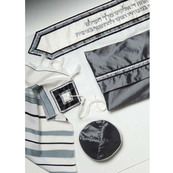 A Classic Tallit With Gray & Black Strips