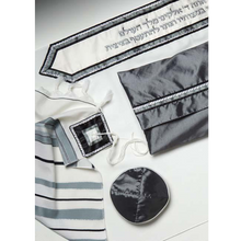 Load image into Gallery viewer, Classic Tallit With Gray & Black Strips, Bar Mitvah Tallit set, modern tallit, custom tallit from Israel by Galilee Silks