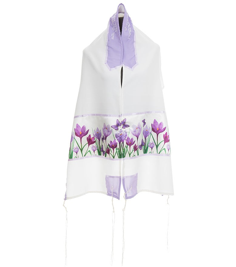 Lilac Crocuses Field Tallit for Women, Girl Tallit, Feminine Tallit, Bat Mitzvah Tallit Set