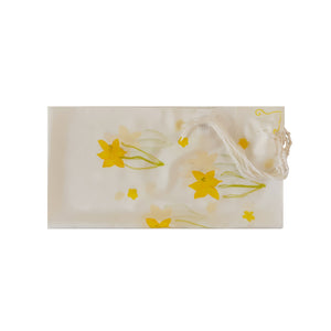 The Daffodils Hand Painted Silk Tallit for Women, Bat Mitzvah Tallit, Tallit for Girl flat