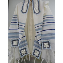 Load image into Gallery viewer, Classic Blue Tallit, wool prayer shawl by Galilee Silks