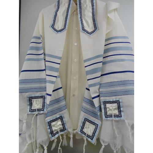 Classic Blue Tallit, wool prayer shawl by Galilee Silks