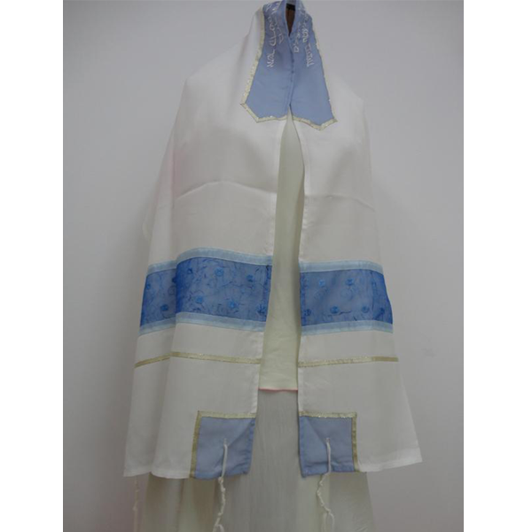 Blue strips silk Tallit for women