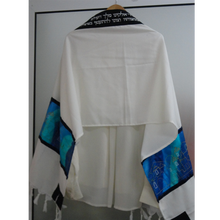 Load image into Gallery viewer, Jerusalem Tallit, Wool Tallit Set, Blue Silk Bar Mitzvah Tallit Set, Wedding Tallit, Hebrew Prayer Shawl from Israel