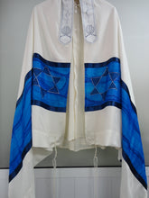 Load image into Gallery viewer, Blue Star of David Tallit, Hand painted Silk Tallit, modern tallit, bar mitzvah tallit from Israel