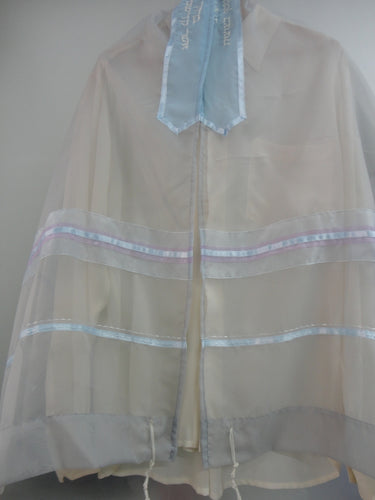 Light blue and purple  ON GREY TALLIT